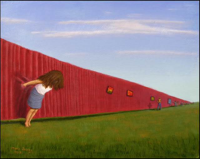 surreal,surrealistic,surrealism,art,artwork,painting,weird,strange,dream image,green grass, maroon curtain,blue sky,girl,woman,people