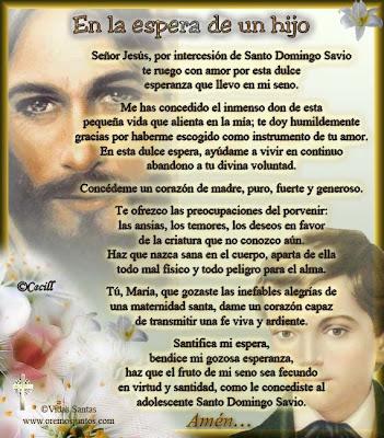 Resultado de imagen para santo domingo savio oracion