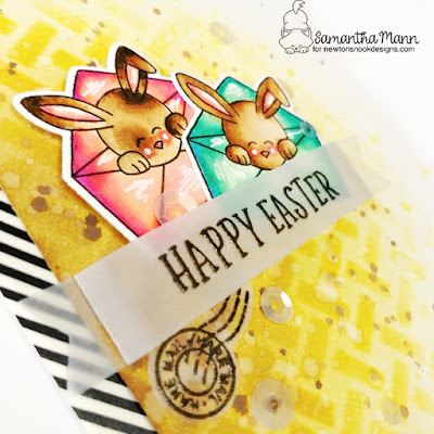 Happy Easter Hare Mail Card by Samantha Mann for Newton's Nook Designs, Easter, Stencil, Basketweave, Cards, Handmade Cards, #newtonsnook #easter #eastercard #distressinks #stencil