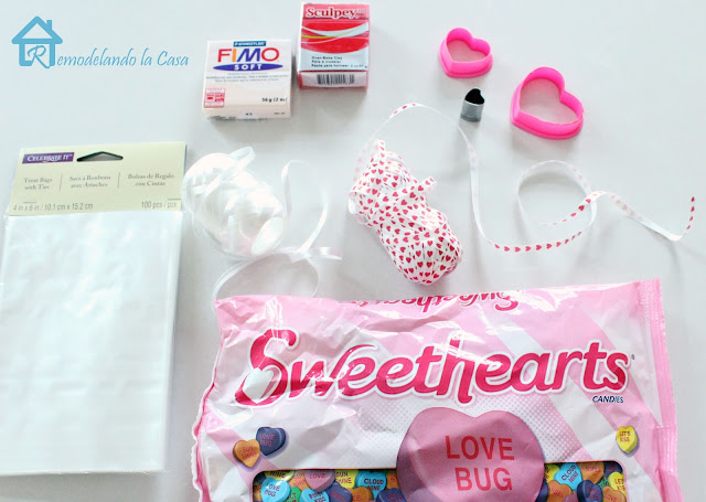 heart candy bag, clear bags, heart ribbon, polymer clay, cookie cutters
