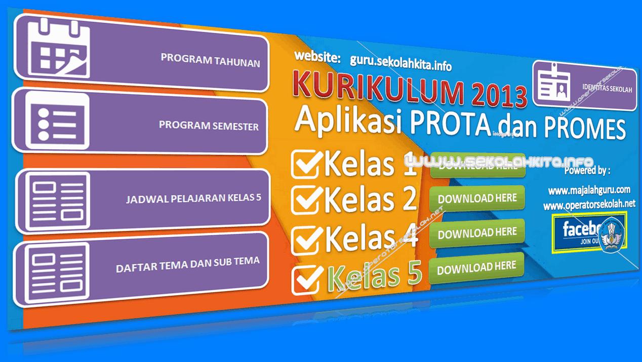 Aplikasi Prota dan Promes Kurikulum 2013 SD Kelas 5 Ditambah Jadwal Pelajaran serta Daftar Tema Subtema