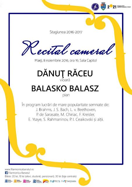 Recital Cameral la Sala Capitol Timisoara -08 noiembrie 2016