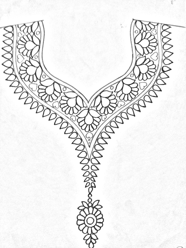 Draw Online Neckline Designs Pencil Sketches For Embroidery Kurti