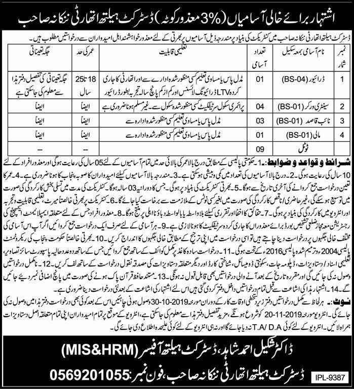 Jobs in Distirct Health Authortiy Nankana Sahib October 2019