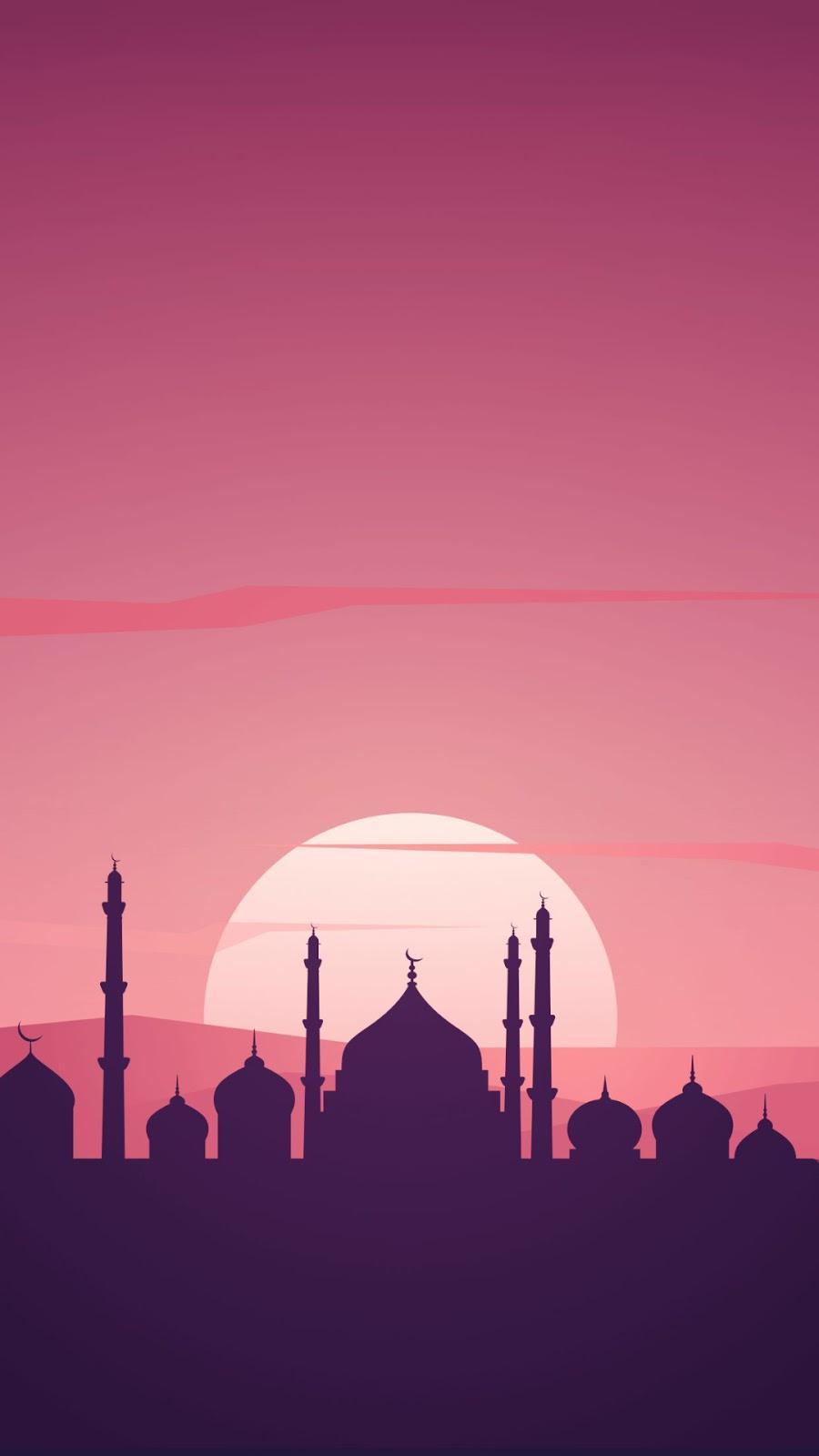 Background Ramadhan Wallpaper HD Android Polis dan Siluet Masjid