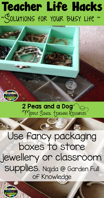 Teacher Life Hack from the 2 Peas and a Dog Blog. Reuse product packaging to save money on storage supplies and containers.
