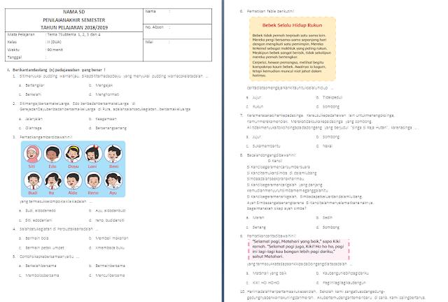 Soal PAS Kelas 2 SD/MI: Tema 7