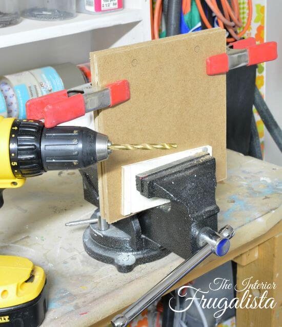 DIY Jumbo Scrabble Tile Fall Banner Drilling Prep