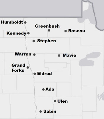 Map of 12 NDAWN weather stations in northwest Minnesota
