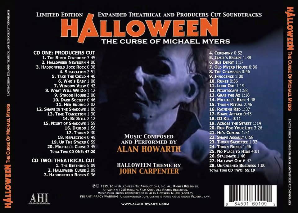 Halloween 2020 Soundtrack Album Cover Fan Art Halloween 6' Double CD Expanded Soundtrack Cover Art Revealed