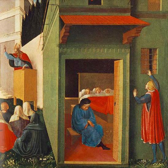 São Nicolau joga pela janela a dote para as moças nobres pobres, Fra Angelico (1395 –1455), Pinacoteca Vaticana