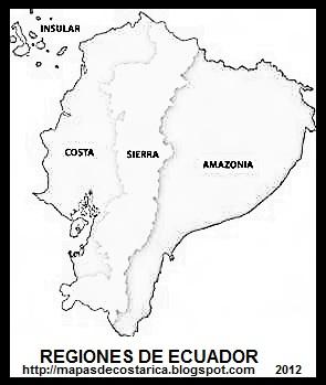 Mapa de las regiones de ECUADOR, blanco y negro