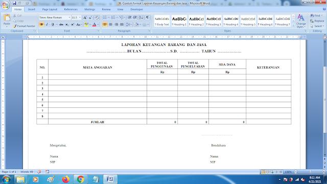 Contoh Format Laporan Keuangan Barang dan Jasa