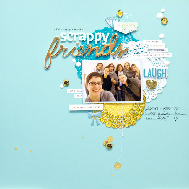 Scrapbooking Layout blau
