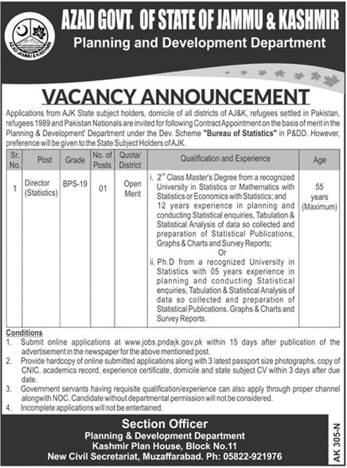 New Jobs in Azad Jamu Kashmir under Planning and Development Department 23 Jan 2018