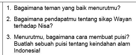 Soal Bahasa Indonesia Tentang Sahabat Pelangi Puisi Nisa Juara untuk SD/Mi Kelas 1-3 (Pertanyaan pada Program Belajar dari Rumah di TVRI Tanggal 22 April 2020)