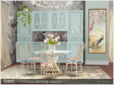 Felicia dining room Фелиция столовая для The Sims 4 Набор мебели для украшения столовой. Набор включает в себя 7 предметов: - шкаф (центральная секция) - шкаф (правая секция) - шкаф (левая секция) - шкаф - круглый стол на 6 персон - обеденный стул - столовая посуда - настенное панно Таблица 6 человек требует пакета Backyard Stuff Pack Автор: Severinka_