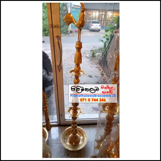 Traditional Brass Oil Lamp 5ft - Kukula Pahana - Ceremonial Lamp - කුකුලා පහන