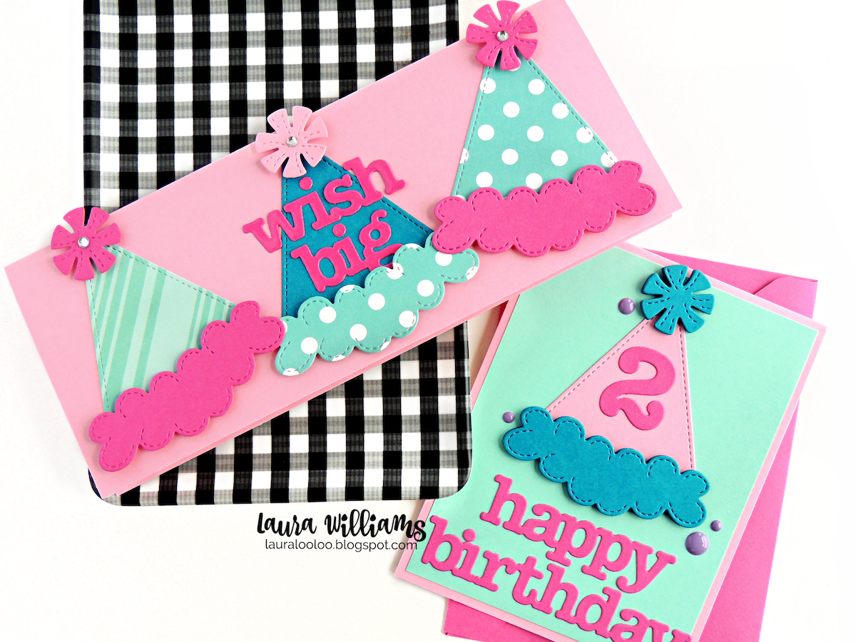 Celebrate birthdays with these sweet handmade card ideas. From first birthdays to 21st, to 100th - the party hat die plus number and birthday word dies from Impression Obsession are all you need to make fun and festive celebration cards and crafts. Pair these dies with your favorite colors for unlimited possibilities for fun paper crafted projects! Visit my blog to see lots more ideas for birthday card making projects.
