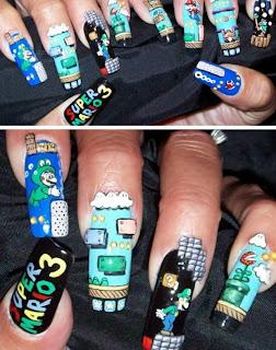 Diseño de uñas estilo Mario Bros