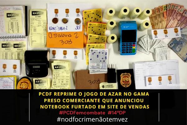 A PCDF reprime jogo de azar e prende receptador em shopping do Gama