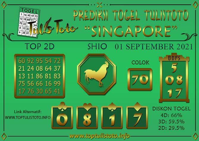 Prediksi Togel SINGAPORE TULISTOTO 01 SEPTEMBER 2021