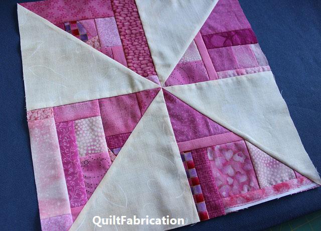 pink scrap pinwheel quilt block