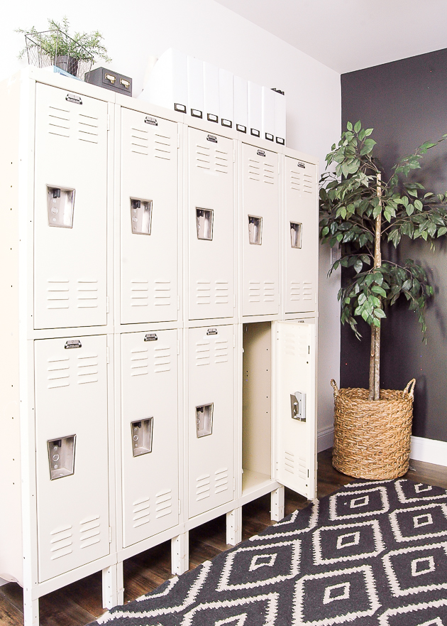 Industrial modern farmhouse office, lockers, vintage