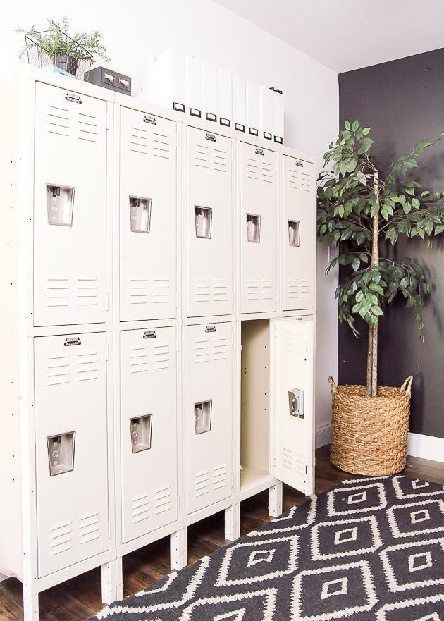 Industrial modern farmhouse office, lockers, vintage