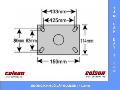 Bảng vẽ kích thước tấm lắp bánh xe công nghiệp PU chống rung chịu tải (350~400kg) www.banhxepu.net