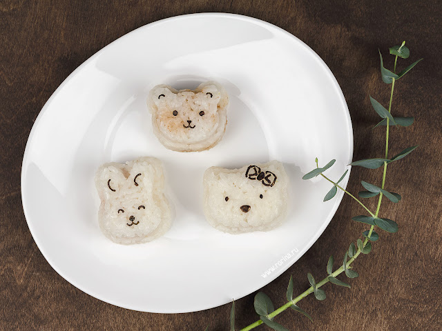 Животные из риса: обед для детей. Фото