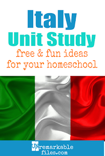 This Italy unit study is packed with activities, crafts, book lists, and recipes for kids of all ages! Make learning about Italy in your homeschool even more fun with these free ideas and resources. #italy  #italian #homeschool