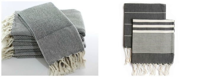 black and white Turkish towels