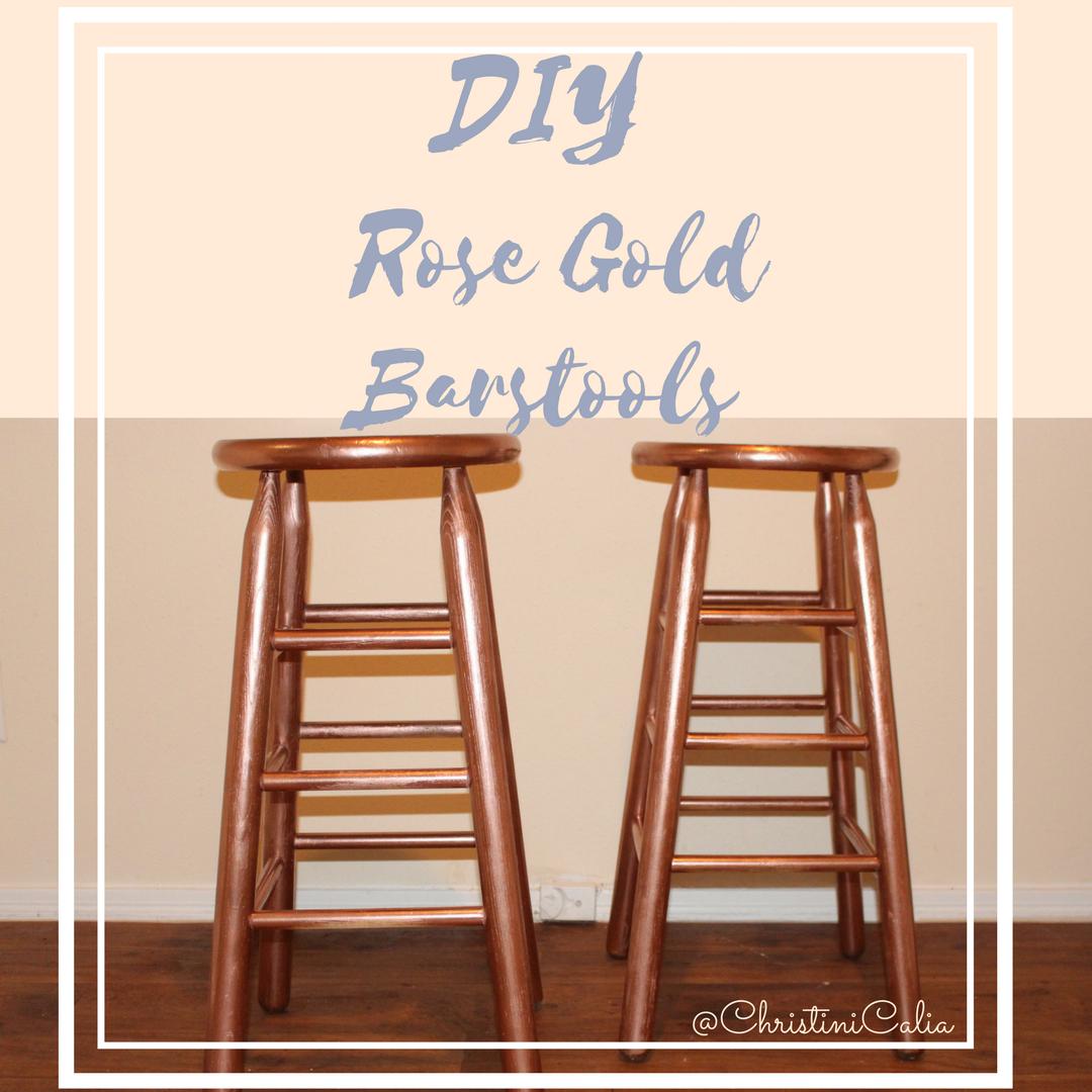 Phenomenal Thriftin W Tini Diy Rose Gold Wood Bar Stools Christinicalia Machost Co Dining Chair Design Ideas Machostcouk