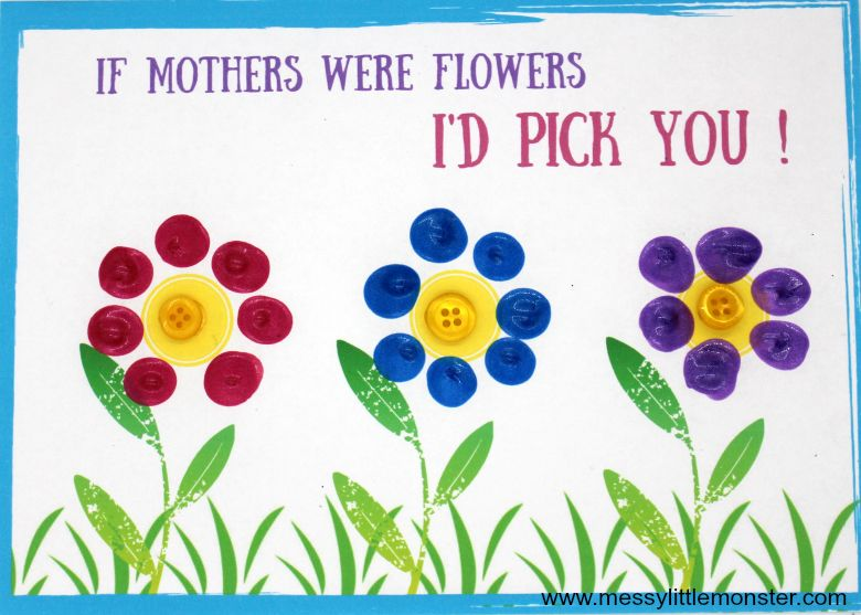 Fingerprint Flower Mother's Day Card for kids to make
