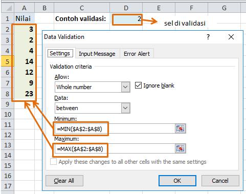data validation rule formula