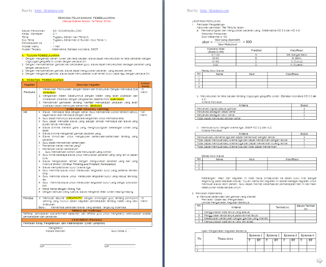 RPP 1 Lembar Kelas 2 SD/MI Tema 3: Tugasku Sehari-hari