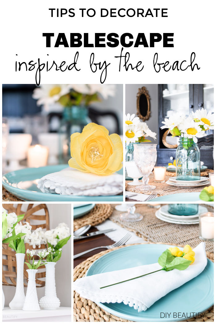 beachy tablescape with blues, yellow and white