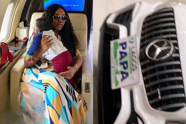 Check Out The Customized Mercedes Benz Davido's Girlfriend, Chioma Got For Their Son's Birthday