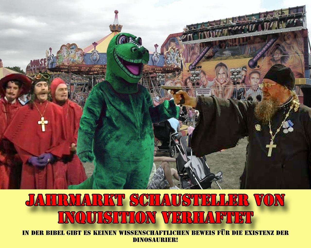 Spaß Bild mit Text - Jahrmarkt Schausteller von Inquisition verhaftet - Satire lustig
