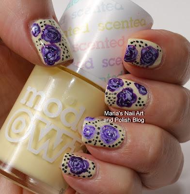 Marias Nail Art And Polish Blog Purple Roses And Glitter In My Banana Split
