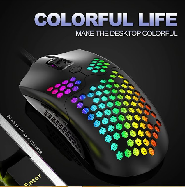 Free-wolf M5 Wired Game Mouse Breathing RGB Colorful Hollow Honeycomb Shape 12000DPI Gaming Mouse USB Wired Gamer Mice for Desktop Computer Laptop PC