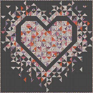 Exploding Heart quilt using the Retro Life collection from Dandelion Fabric & Co