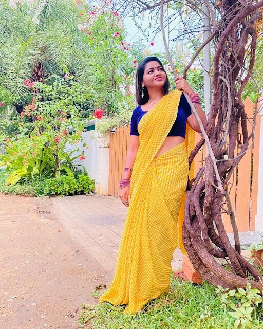 Tamil Actress Shalu Shammu Latest Phots in Yellow Saree Actress Trend