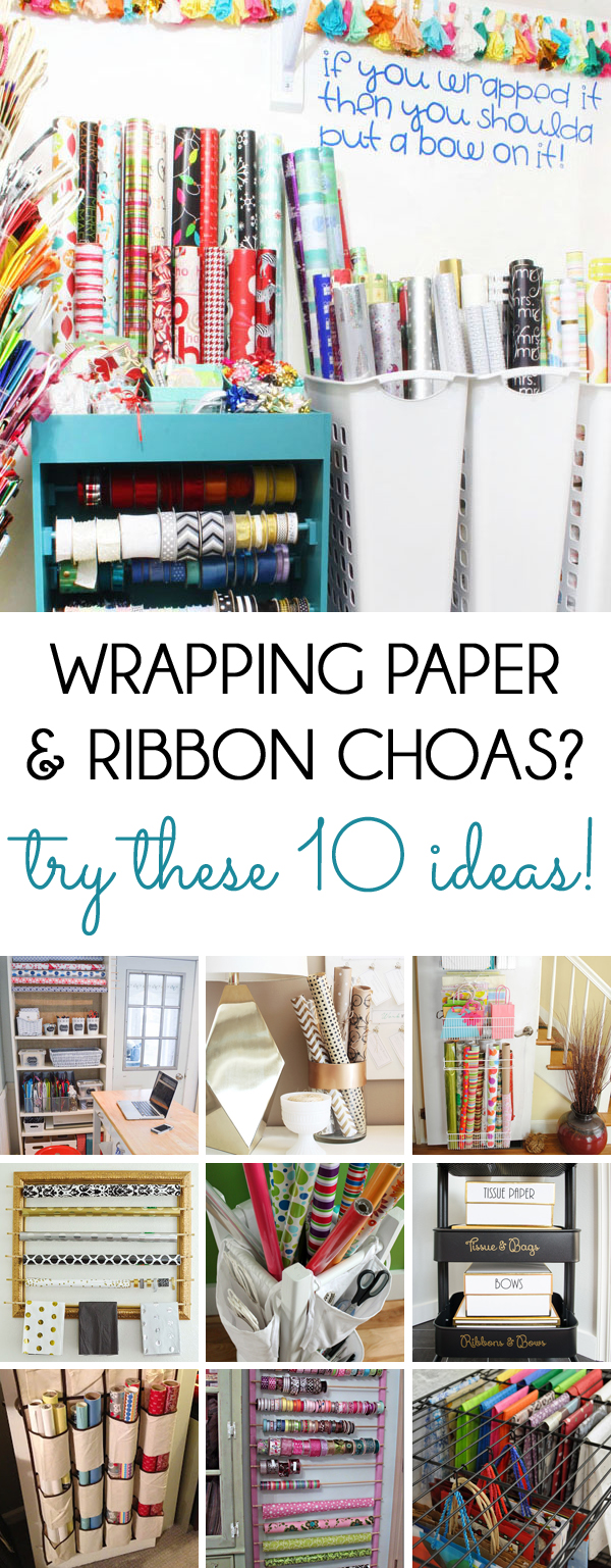 Wrapping paper and ribbon storage and organization