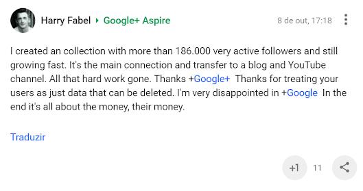 Comentário do Harry Fabel sobre o fim do Google Plus