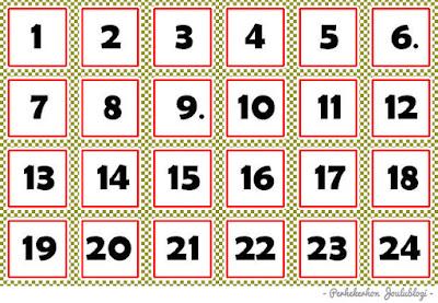 Kuva - Joulukalenteri lapsille: Tulostettavat numerot pussikalenteriin