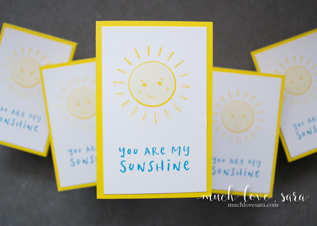 These quick and easy mini note cards are perfect for lunchboxes, teacher gifts, or just a small treat.  Created using the Fun Stampers Journey My Sunshine ATS Stamp.