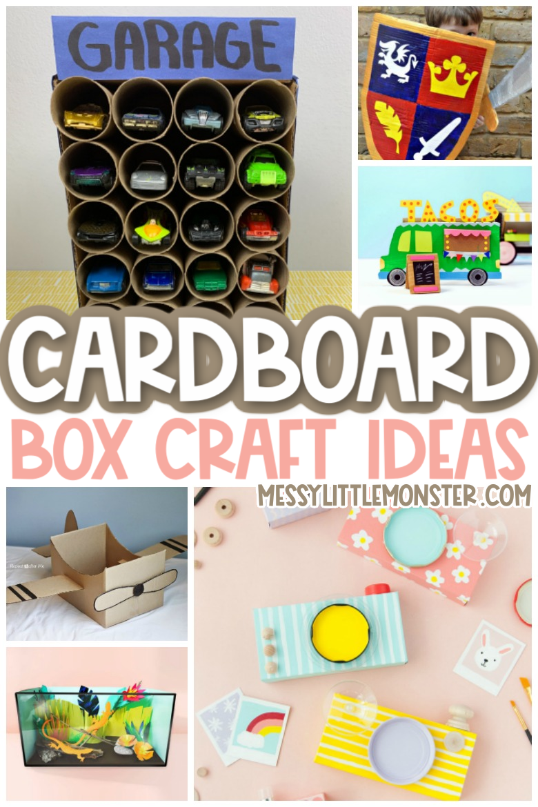 The Cutest Cardboard Box Crafts For Kids Messy Little Monster