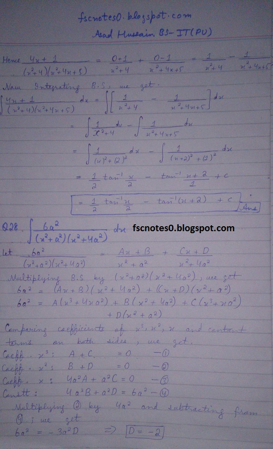 FSc ICS Notes Math Part 2 Chapter 3 Integration Exercise 3.5 question 23 - 31 by Asad Hussain 7